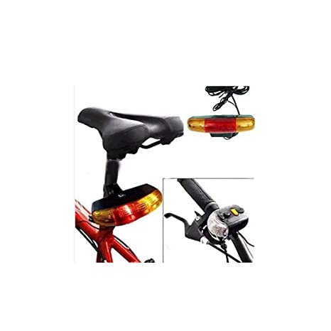 FASTPED 3 in 1 Cycling Bicycle Bike Turn Signal Indicator Brake Tail 7 LED Light Electric Horn (Black)