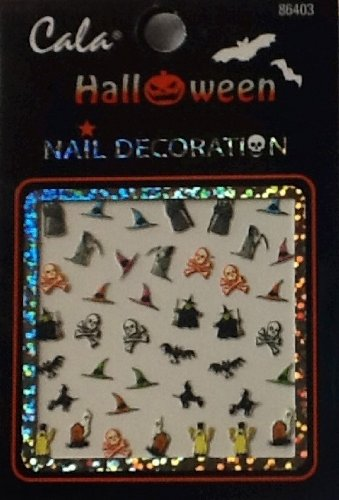 6 Varieties! Cala Nail Decoration. Halloween Theme! Fingernail & Toenail Ghastly & Fun Stickers, Nail Art! (GRAY Grim reaper)