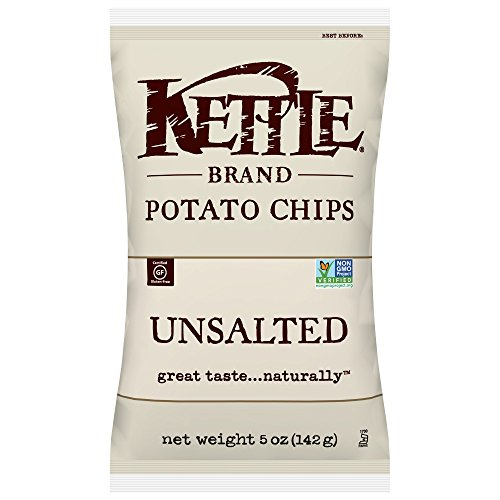 Kettle Brand Potato Chips, Unsalted, 5-Ounce Bags (Pack of 15)