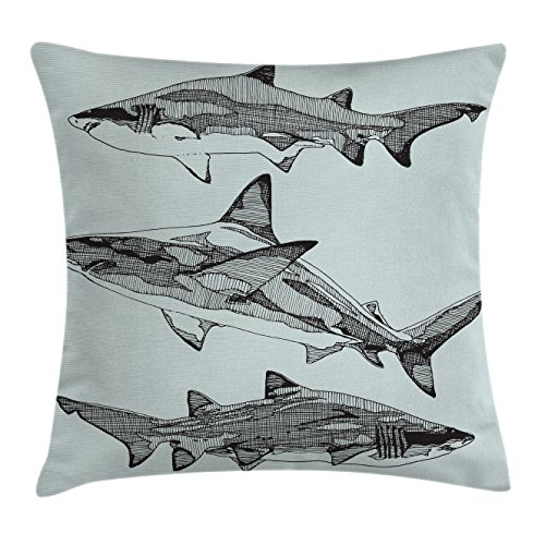 Animal Decor Throw Pillow Cushion Cover by Ambesonne, Sealife Big Fierce Dangerous Fish Shark Jaws Tails Sketchy Artistic Image, Decorative Square Accent Pillow Case, 18 X18 Inches, Black and - Square Men With Jaws