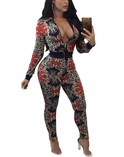 2 Club Jacket (Dreamparis Women's Sweatsuits 2 Pieces Outfits Floral Prints Bodycon Set Tracksuits Clubwear X-Large Floral)