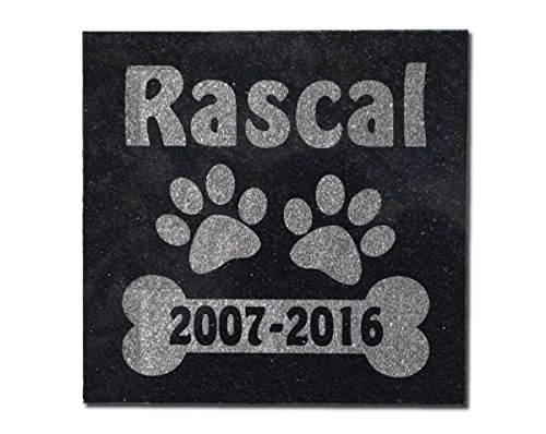 Personalized-Pets-by-StockingFactory Dog Bone Memorial 6X6 Laser Engraved Custom Garden Plaque Paw Print Gravemarker Sympathy Gift Companion of Family Grave Marker for Sister Brother Mom Dad