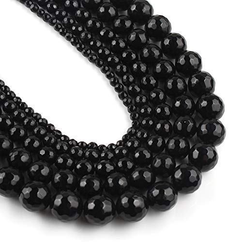 Yochus 10mm Faceted Black Agate Stone Round Loose Beads Natural Stone Beads for Jewelry Making