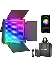 Neewer 530 PRO RGB LED Video Light with App Control, 360° Full Color 45W Dimmable Bi-Color 3200K~5600K CRI 97+ LED Panel with 9 Scenes/Metal Shell for Photography, Gaming, Live Streaming, YouTube