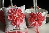 Alex Emotions | Big Flower Collection | 1 Persimmon Ivory Ring Bearer Pillow & 2 Wedding Flower Girl Basket Set