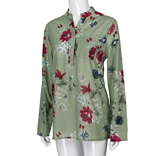 Long Blouse Casual Ship on S Size Chiffon Dress Women s Print Sale Floral Green Plus No Sleeve Birdfly 5XL ZqXnw
