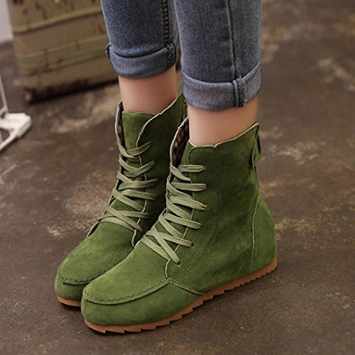 BBsmile New Women Flat Ankle Snow Motorcycle Boots Female Suede Leather Lace-Up Boot Green xc4lD