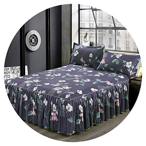 Classic Single Layer Skirt Non-Slip Sheet Cover Bed Sheet Room Decoration Flower Printing Bedspread Pillowcase 3pcs,7,150x200CM,120x200CM,4 ()