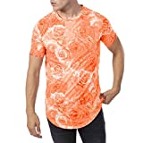 Fashion Men's Summer Slim Casual Print O-Neck Fit Short Sleeve Top Blouse Tronet Mens Summer t Shirts Short Sleeve
