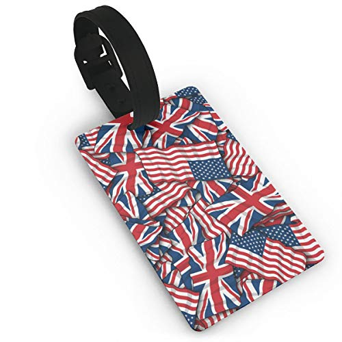 British American Flag Pattern Luggage Bag Tags Cruise Tags Etag Adjustable Wrist Strap Bag Tags Travel Suitcases Tags Wide Waterproof Suitcase Labels Baggage Name - Diva Yellow Round Gold Ring
