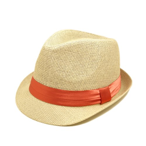 TrendsBlue Classic Natural Fedora Straw Hat, Coral Band ()