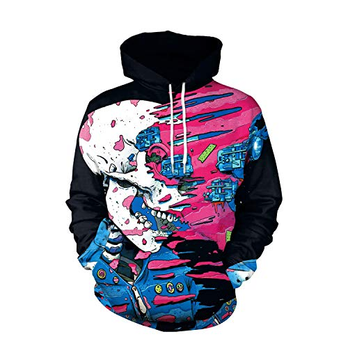 Ruanyi Brand Winter Hip-hop Punk Women Men Sweatshir 3D Printed Cartoon Hoodies Pullovers Colorful Hoodie Sweatshirts Black Skull Doodle Couple