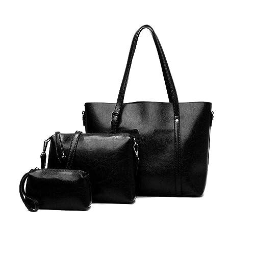 cc3b26c599 Amazon.com  Women s Vintage Style Soft PU Leather Work Tote Large Handbags Tote  Bag Satchel Purse Set 3pcs (Black)  Shoes