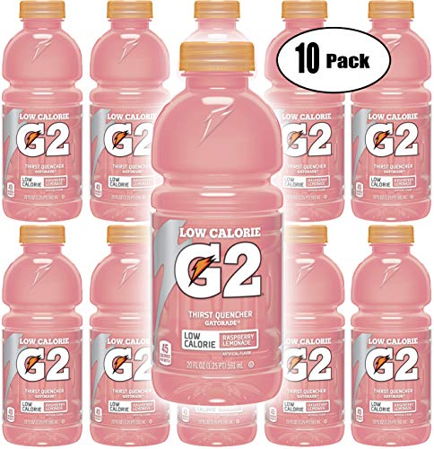 Gatorade G2 Pink Raspberry Lemonade, Low Calorie Thirst Quencher, 20oz Bottle (Pack of 10, Total of 200 Oz)