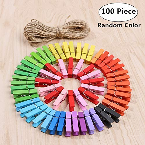 Multi Color Natural Wood - Magnolian 100 Pieces Mini Colored Natural Wooden Clothespins Photo Paper Peg Pin Craft Clips,Home Decoration Photo Clips with 33 Feet Jute Twine