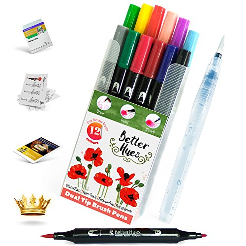 Double Tip Watercolor Markers and Mixer Brush Pen SMART Combo kit - Stress relief - No Bleed or Mess with Water-soluble colors to make your Art effortless and quick! BONUS Coloring Pages and e-books