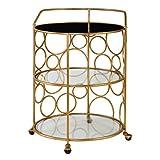 Open Circles Round Gold Bar Serving Cart | Drum Shape Wheels Rolling Modern