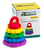 Image of 5 PC Rainbow Stacker Toy Teether Sensory Silicone rings for baby and children of all ages