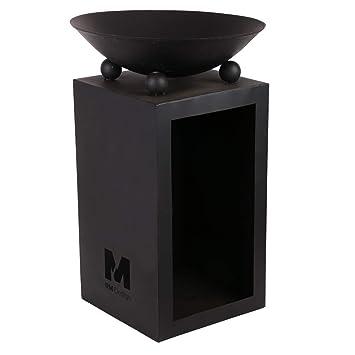 RM Diseño Brasero de Metal en Negro Diámetro 44 cm/Chimenea como Hoguera o Cesta
