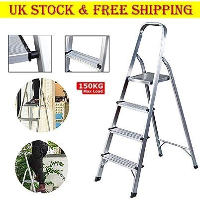 Escalera de 4 peldaños antideslizante de seguridad plegable de aluminio ligero escaleras para el hogar cocina hotel, 150 kg de capacidad: Amazon.es: Bricolaje y herramientas