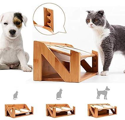 Am Bulan Mesa de Comedor para Gatos y Mascotas, Ajustable, ángulo ...