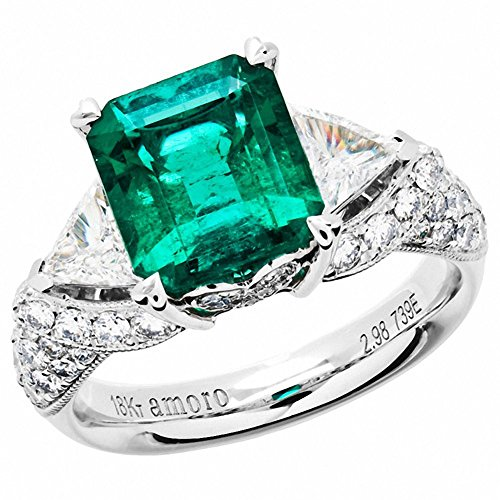 Amoro-18k-White-Gold-Colombian-Emerald-Ring-and-Diamond-Ring-083-cttw-G-H-ColorVS2-SI1-Clarity