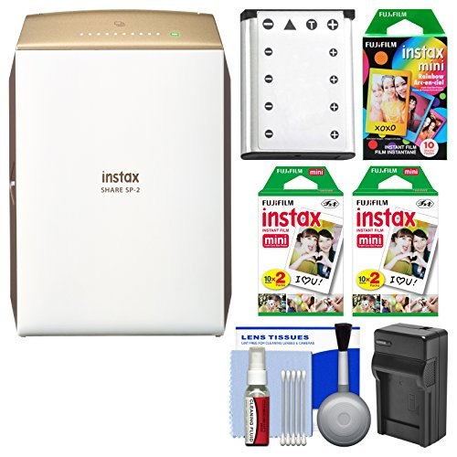Fujifilm Instax Share Sp 2 Instant Film Wi Fi Smartphone Printer  Gold  With 40 Color Prints   10 Rainbow Prints   Battery   Charger   Kit