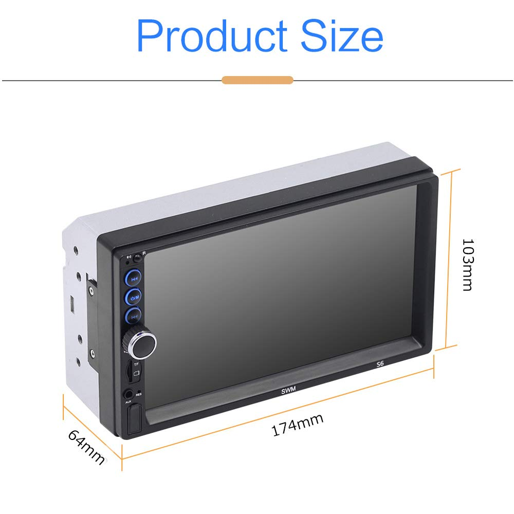 Camecho 7 inch Touch Screen in Dash Car Radio Video Multimedia Player MP5 Player TF USB FM Radio with iOS//Android Mirror Link Remote Control /& Steering Wheel Control Upgraded 2 din Car Stereo