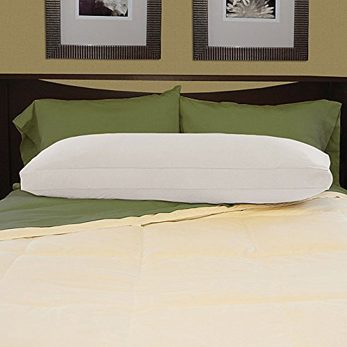 White Brushed Cotton Natural Feather- Filled Body Pillow Wit