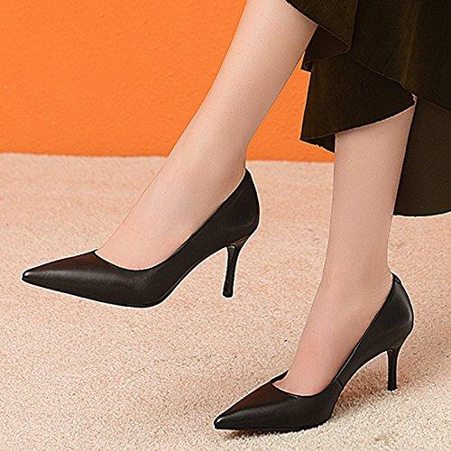 Simple Poco Profundos Cuero Tacones De Black con DKFJKI Altos Mujer Trabajo Zapatos De De Vestir Profesional Bien Zapatos Zapatos Zapatos Moda De wqZXIx8Uz