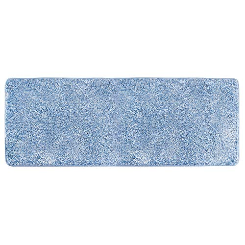 mDesign Soft Microfiber Polyester Non-Slip Extra-Long Spa Mat/Runner, Plush Water Absorbent Accent Rug for Bathroom Vanity, Bathtub/Shower, Machine Washable - 60 x 21 - Heather Blue