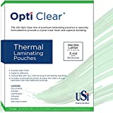 USI Opti Clear Premium Thermal (Hot) Laminating Pouches/Sheets, Letter Size, 3 Mil, 9 x 11 1/2 inches, Clear Gloss, Box of 100