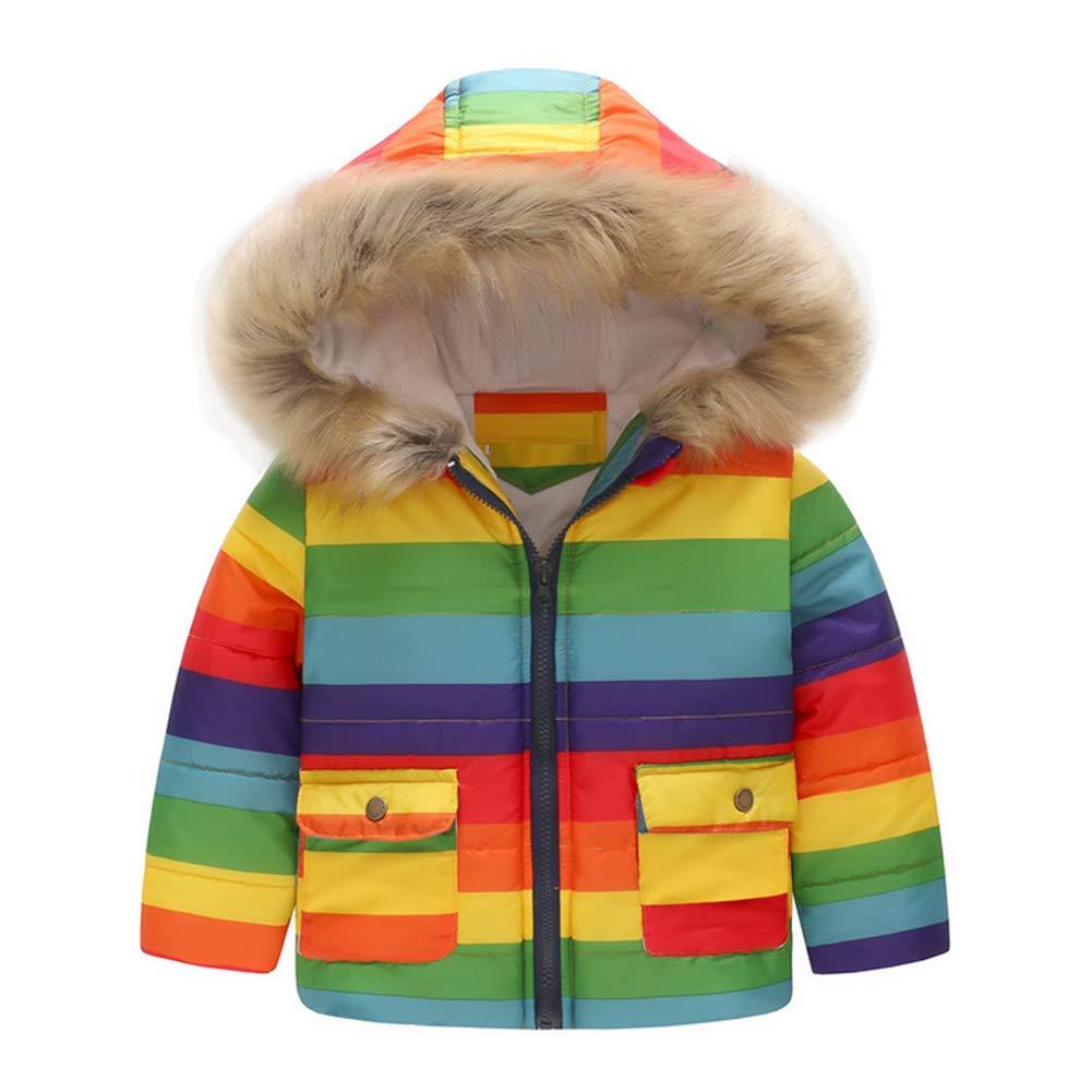 2-7 Years Digirlsor Toddler Girls Snowsuit Kids Winter Coat Fur Hooded Warm Fleece Lined Thick Jacket