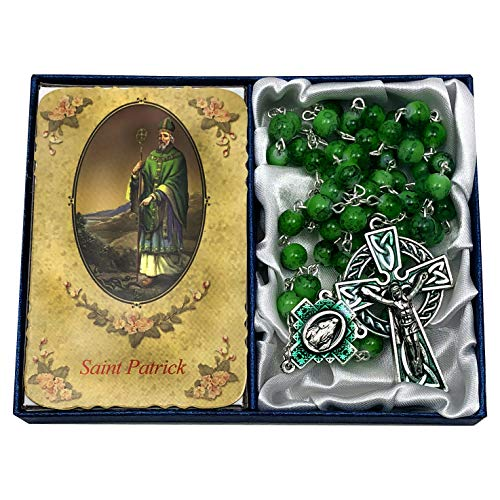 CB Catholic St Patrick Marble Rosary Gift Set. Includes Green Marble Bead Rosary with Celtic Cross Silver Metal Crucifix and Saint Patrick holy Card with Irish Blessing Prayer