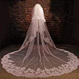 Quality Long Lace 2 Layers White Ivory 1.5 Meters Width 3 Meters Long Veil for Bridal with Comb