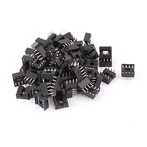 Uxcell Solder Type 8 PIN DIP Integrated Circuit IC Sockets Adaptor, 60 Pieces