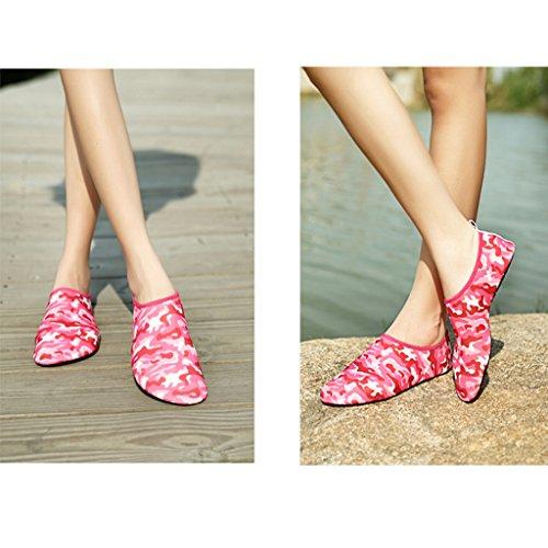 Eagsouni® Zapatos Deportivos de Agua Aguamarina Descalzo para Natación Playa Surf Buceo Shoes Aqua Calcetines #3Rojo