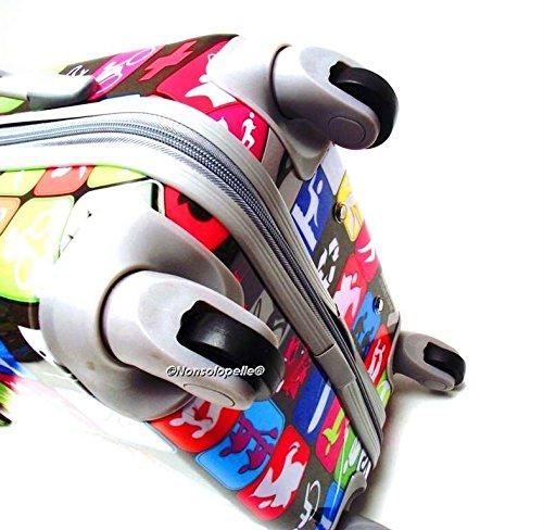 Set Tre Trolley ABS Rigido LUCIDO Simboli Stradali 4 ruote con Trolley Bagaglio a Mano idoneo IATA ALITALIA,United Colours