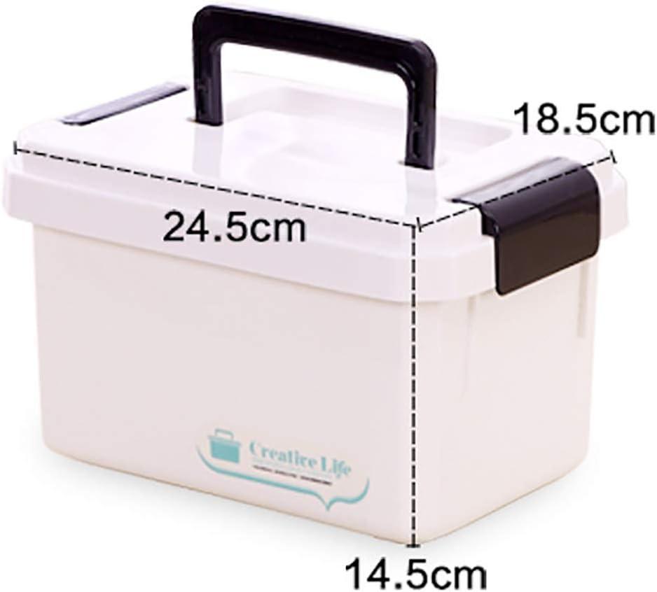BotiquíN De Primeros Auxilios, Cajas De Almacenamiento De Cajas De Medicamentos Multifuncionales, 2 Capas con Compartimientos Caja De Almacenamiento MéDico Grande De PláStico: Amazon.es: Hogar