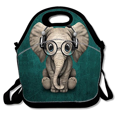 Pony Note Cards - DIY Neoprene Lunch Bag, Insulated Lunch Tote Lunch Box Bag with Shoulder Straps for Adults, Women, Girls, School Children - Suitable for Travel, Picnic, Office - Cute Baby Elephant Dj