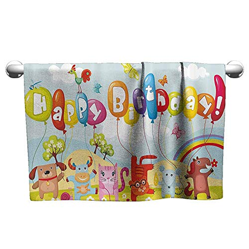 DUCKIL Cute Hand Towels Birthday Decorations for Kids Farm Life Animals Balloons Rainbow Clouds Village Theme Party Sauna Sheet 10 x 10 inch Multicolor