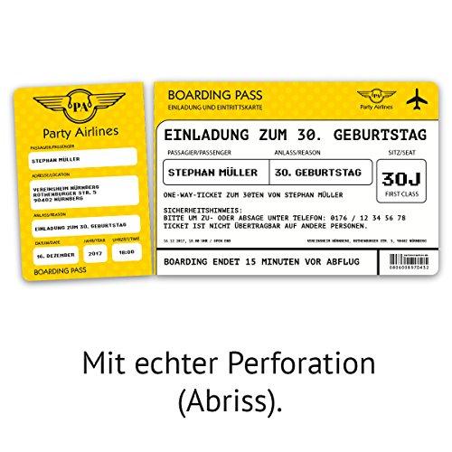 Einladungskarten zum Geburtstag 30 Stück als Flugticket Ticket
