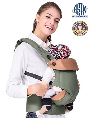 Ergonomic Baby Carrier, 3-in-1 Convertible Carriers, Infant Carriers Front and Back - for 7-44lbs - Toddler Wrap Carrier, Baby Carrier Backpack for Hiking, Army Green by Generic