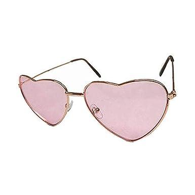 2b31d53baea PINK Heart Shape Glasses Sunglasses Shades 60s 70s Hippy Lennon Fancy Dress  Festival  Amazon.co.uk  Clothing