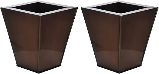 Gloss Brown Square Small Zinc Vase – Set of 2