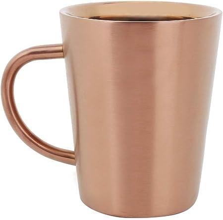 Taza de café, taza de café de acero inoxidable 304 de doble capa anti escaldado 350mL taza de té de cerveza de café, oro rosa