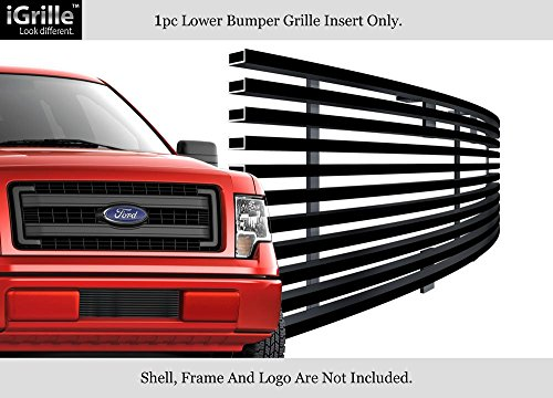 - APS Stainless Steel 304 Black Billet Grille Grill Custome Compatible with 2009-2014 Ford F-150 Lower Bumper