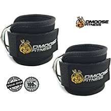 Ankle Straps for Cable Machines by DMoose Fitness - Strong Velcro, Double D-Ring, Adjustable Comfort fit Neoprene - Premium Ankle Cuffs to Enhance Abs, Glute & Leg Workouts - For Men & Women