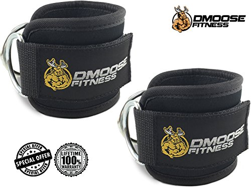 Abdominal+Machine Products : Ankle Straps for Cable Machines by DMoose Fitness - Strong Velcro, Double D-Ring, Adjustable Comfort fit Neoprene - Premium Ankle Cuffs to Enhance Abs, Glute & Leg Workouts - For Men & Women