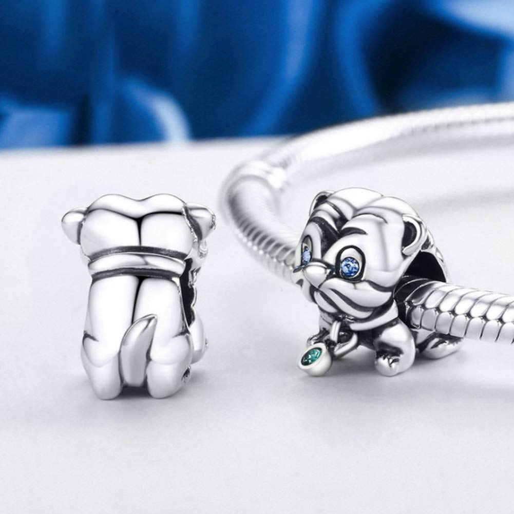 HSUMING Cute Lovely Puppy I Love Dog Pet Lover Charm Animal 925 Sterling Silver Bead Fits European Charm Bracelet